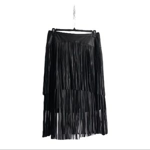 Dresses & Skirts - 16W BLACK FRINGE LEATHER SKIRT 16W